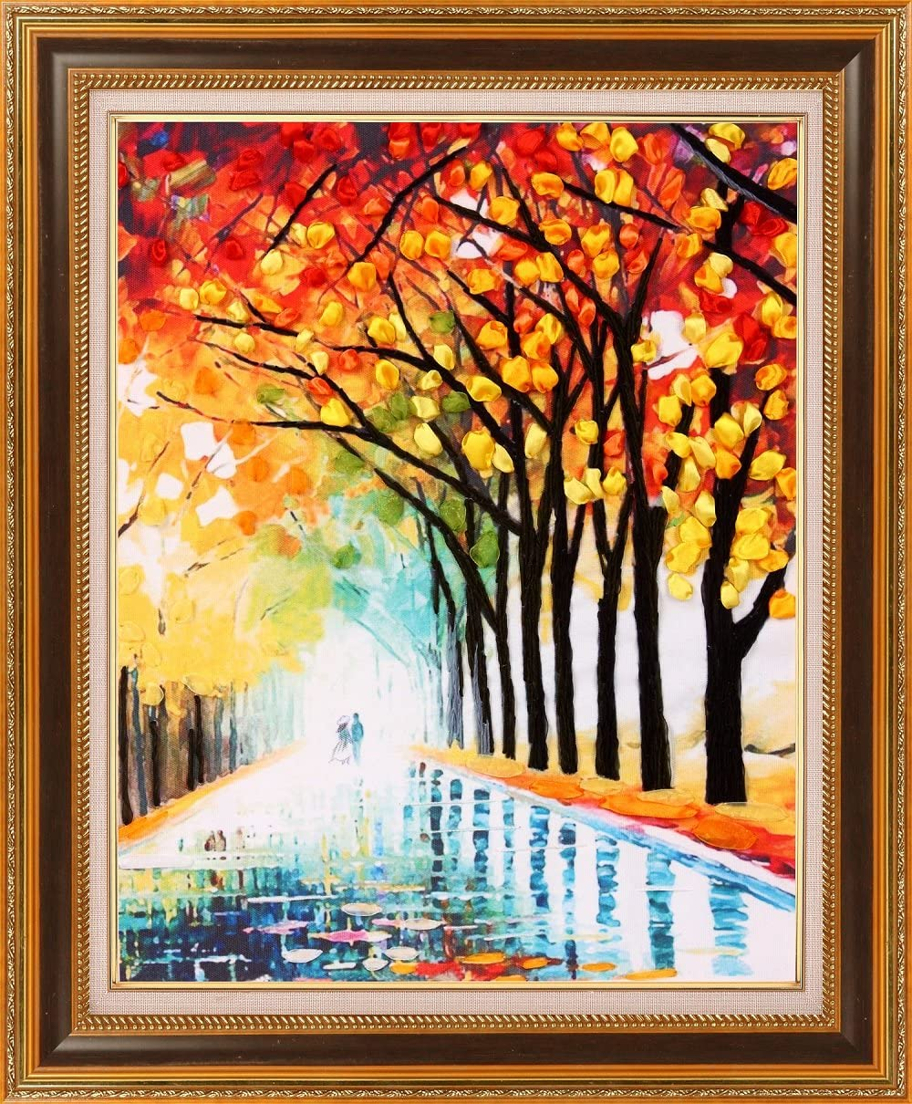 Ribbon embroidery Kit,Fanryn 3D Silk ribbon embroidery Rain and autumn pattern design Cross Stitch Kit Embroidery for beginner DIY Handwork Home Decoration Wall Decor 45x55cm No frame