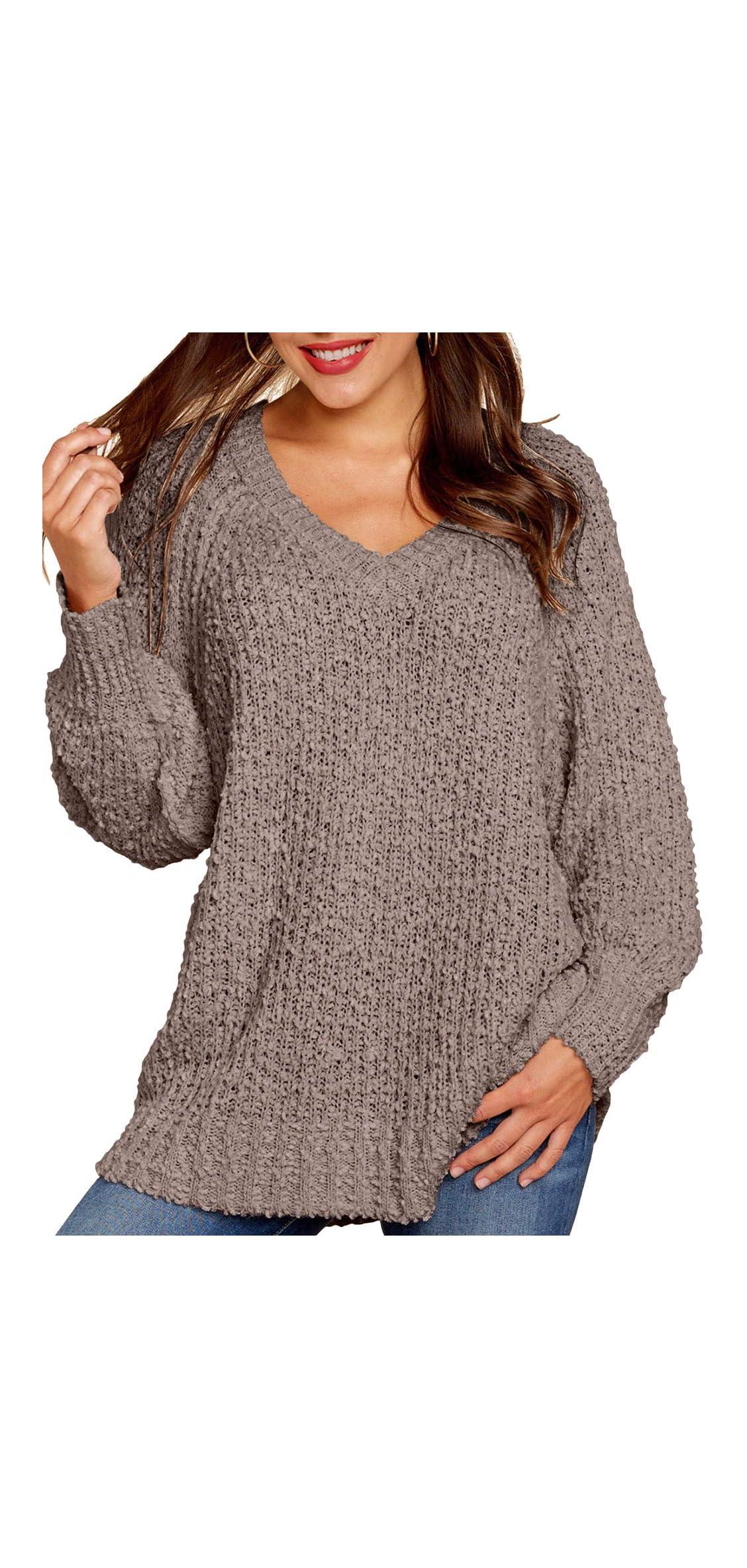Womens Winter Fuzzy Popcorn Sweater V Neck Long Sleeves