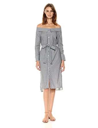d9b21db55964 Ark   Co. Women s Pinstripe Off The Shoulder Belted Dress at Amazon ...