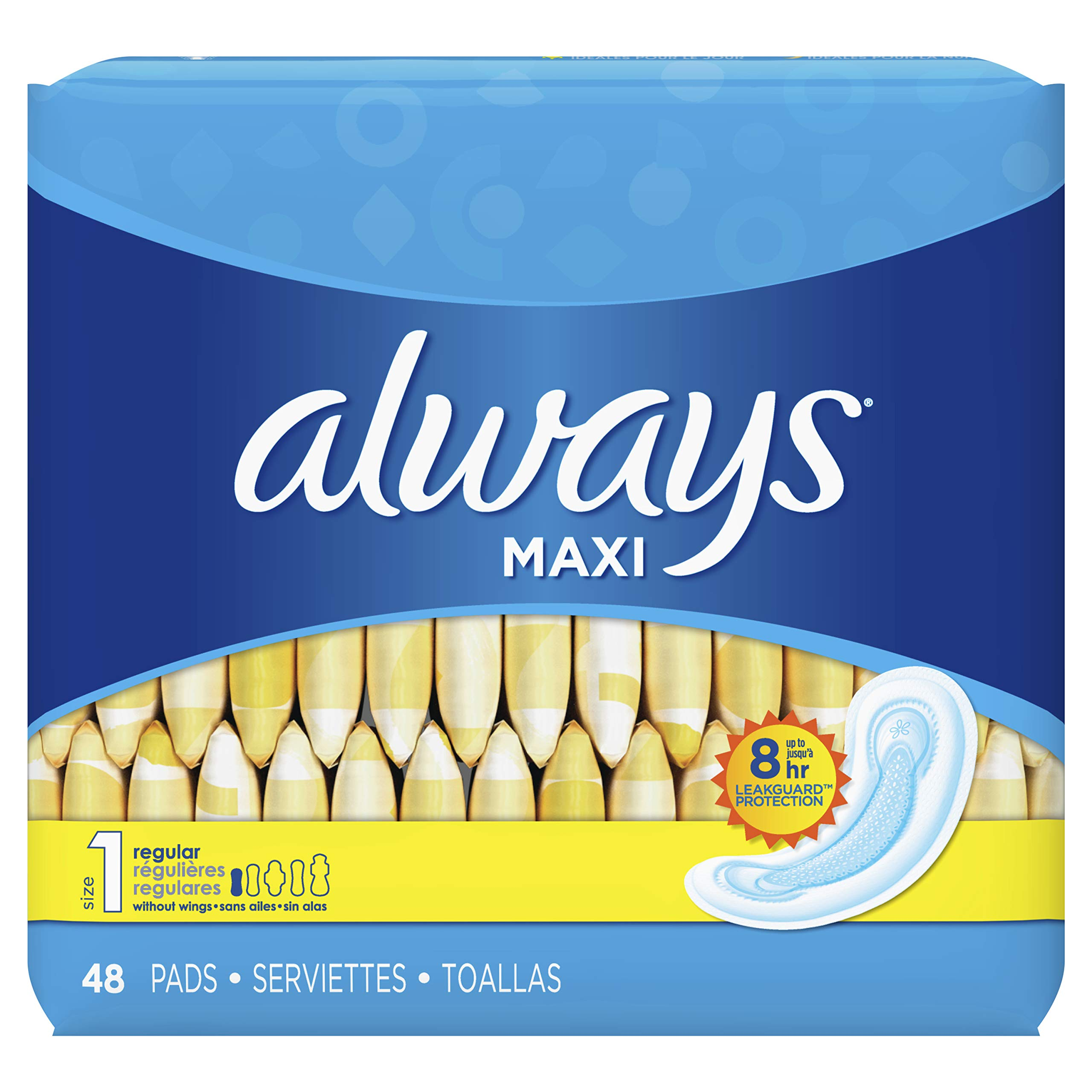 Always Maxi Feminine Pads for Women, Size 1, Regular Absorbency, Unscented, 48 Count - Pack of 6 (288 Count Total) (Package May Vary) by Always