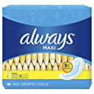 Always Maxi Feminine Pads for Women, Size 1, Regular Absorbency, Unscented, 48 Count - Pack of 6 (288 Count Total) (Package May Vary)
