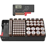 Battery Tester and Battery Storage Organizer case, Batteries Storage Box Holds 110 Batteries Various Sizes for AAA, AA…