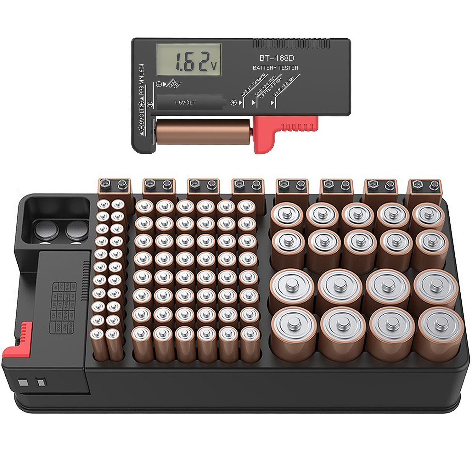 Battery Organizer Storage case with Tester can Hold 110 Battery Various Sizes for AAA, AA, 9V, C and D Size and Digital Battery Tester by ABUNRO
