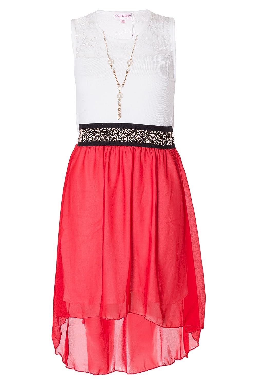 Noroze Girls Lace Chiffon Dress + Necklace