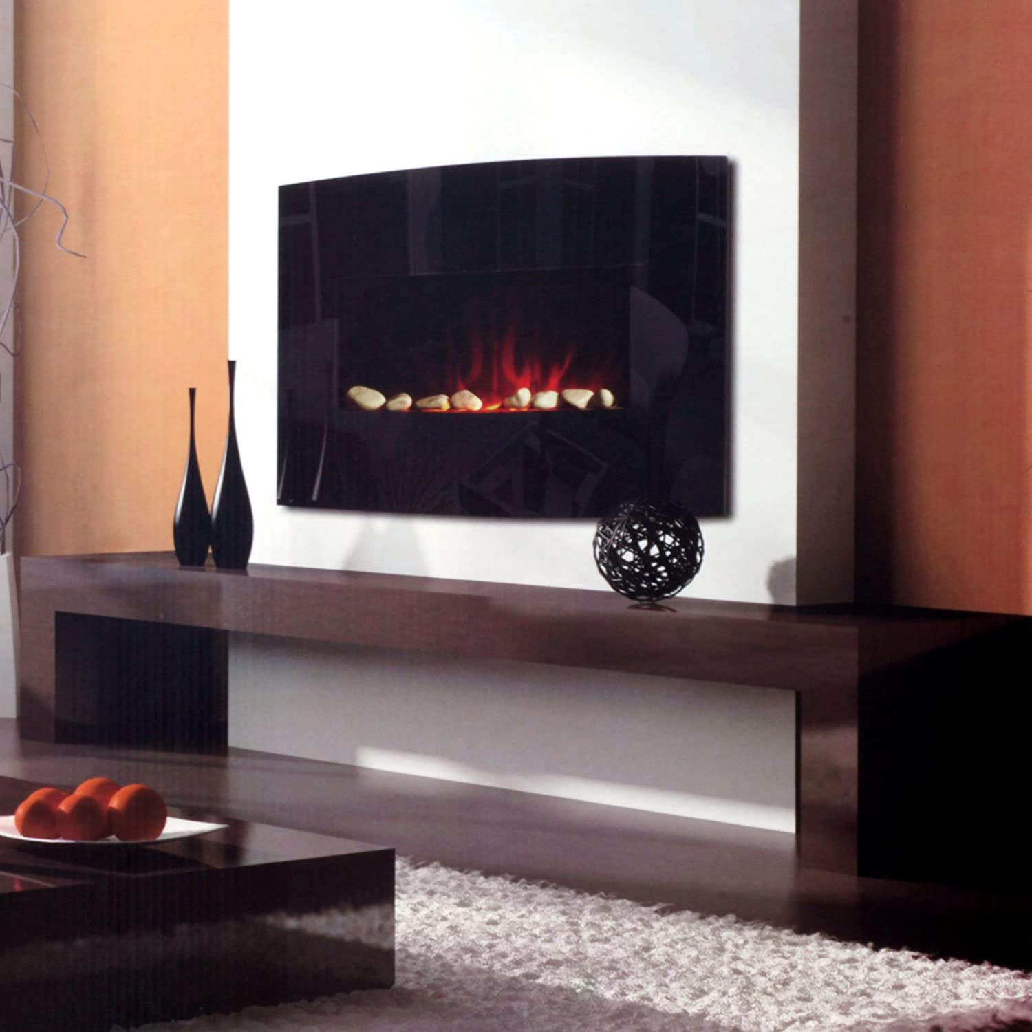 amazon com warm house black arched glass electric fireplace