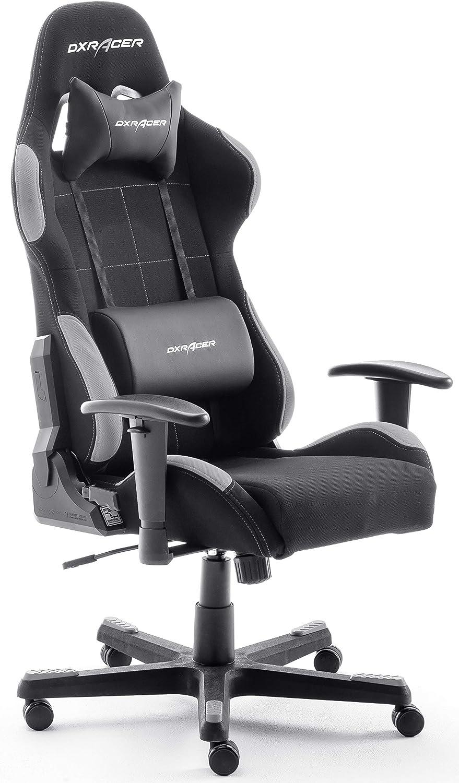 Silla de escritorio/oficina/ gaming, Negro/Gris, 74 x 52 x 123-132cm, madera, con ruedas, altura ajustable, tapizada,...