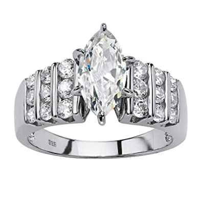 6b73c247a Platinum over Sterling Silver Marquise Cut Cubic Zirconia Channel Set  Engagement Ring Size 7