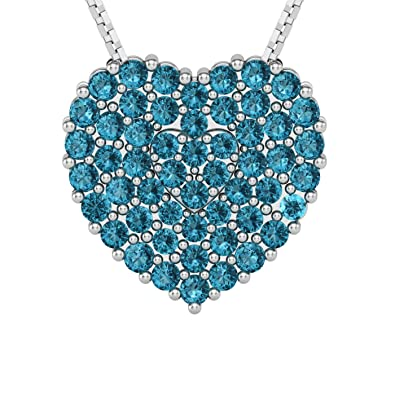 6db1b1d4257 Ella Jewel Heart Pendant Necklace: 53 White, Pink, or Blue Cubic Zirconia  Stones Set in KS 925 Sterling Silver or Rose Gold Plus an 18-Inch Chain in  a ...