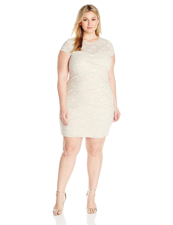 a0fb4c54684 London Times Women s Plus Size Short Sleeve Round Neck Lace Sheath Dress at  Amazon Women s Clothing store