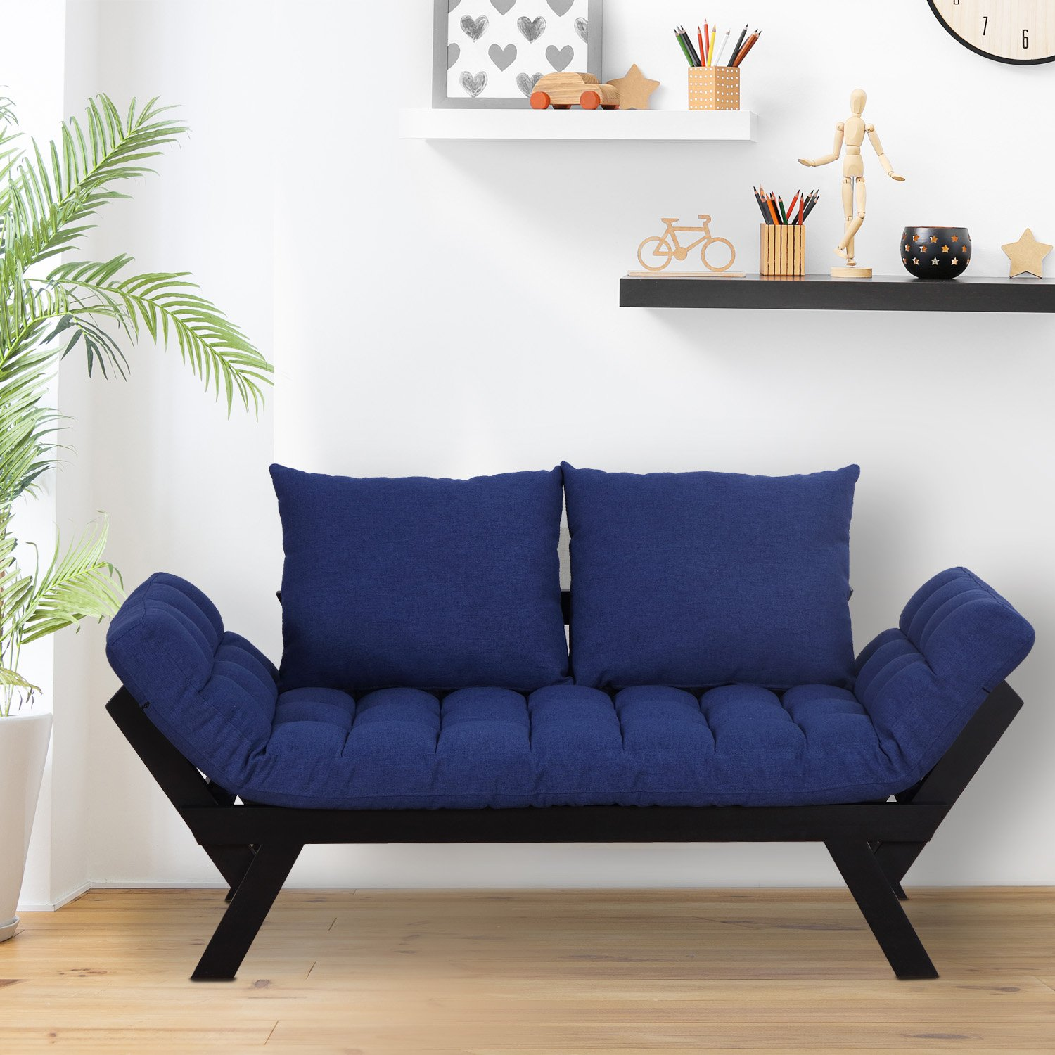 HOMCOM 3 Position Convertible Chaise Lounge Sofa Bed – Black Dark Blue