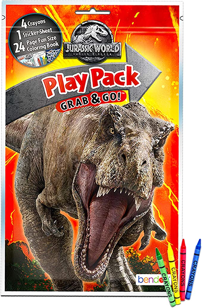 Amazon.com: Jurassic World Coloring Book Set With Stickers And Posters (3  Books): Toys & Games