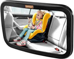 Smart eLf Baby Car Mirror, Large Safety Car Seat Mirror for Rear Facing Infant Child with Wide Crystal Clear View, Shatterpro