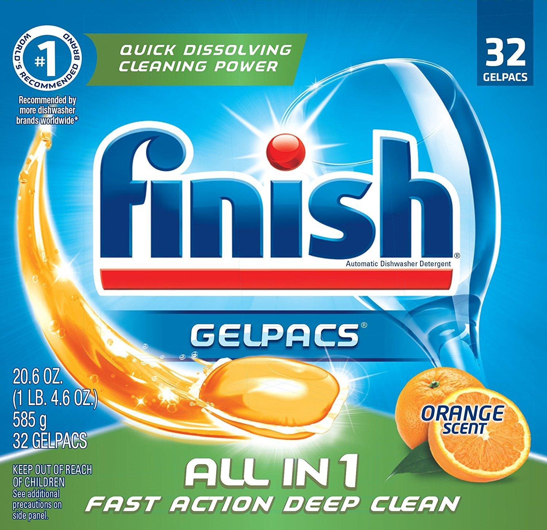 Finish All in 1 Gelpacs Orange, 192ct, Dishwasher Detergent Tablets (8X32ct)