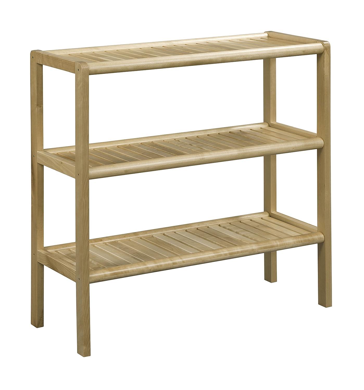 Espresso Large New Ridge Home Goods Abingdon Solid Birch Wood 3 Shelf Console