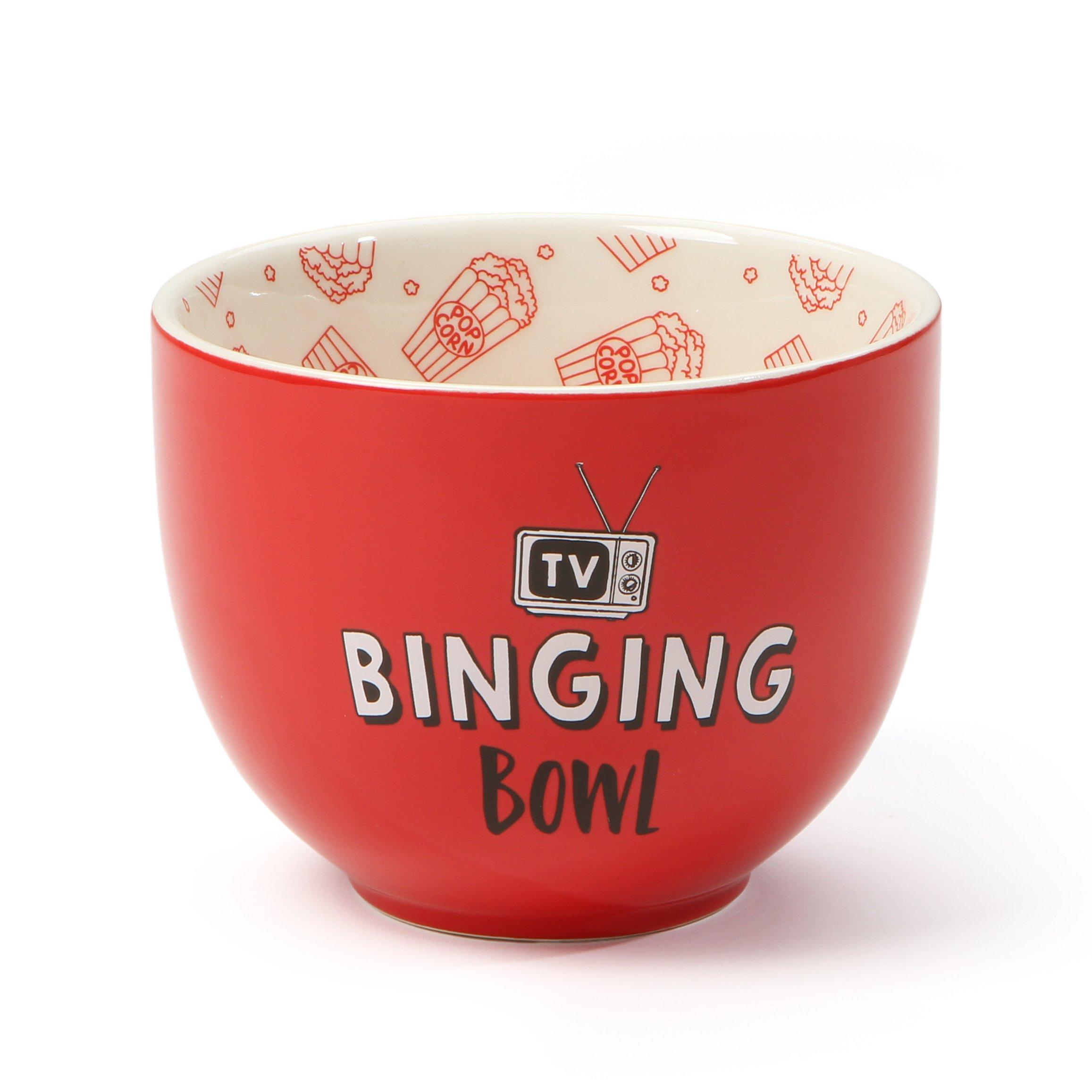 "Our Name is Mud ""TV Binging Bowl"" Red Stoneware Bowl, 4""x5"""