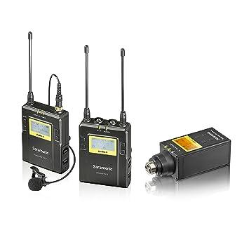 Sistema de micrófono inalámbrico Saramonic UWMIC9 UHF + transmisor para cuerpo con Lav XLR + micrófono