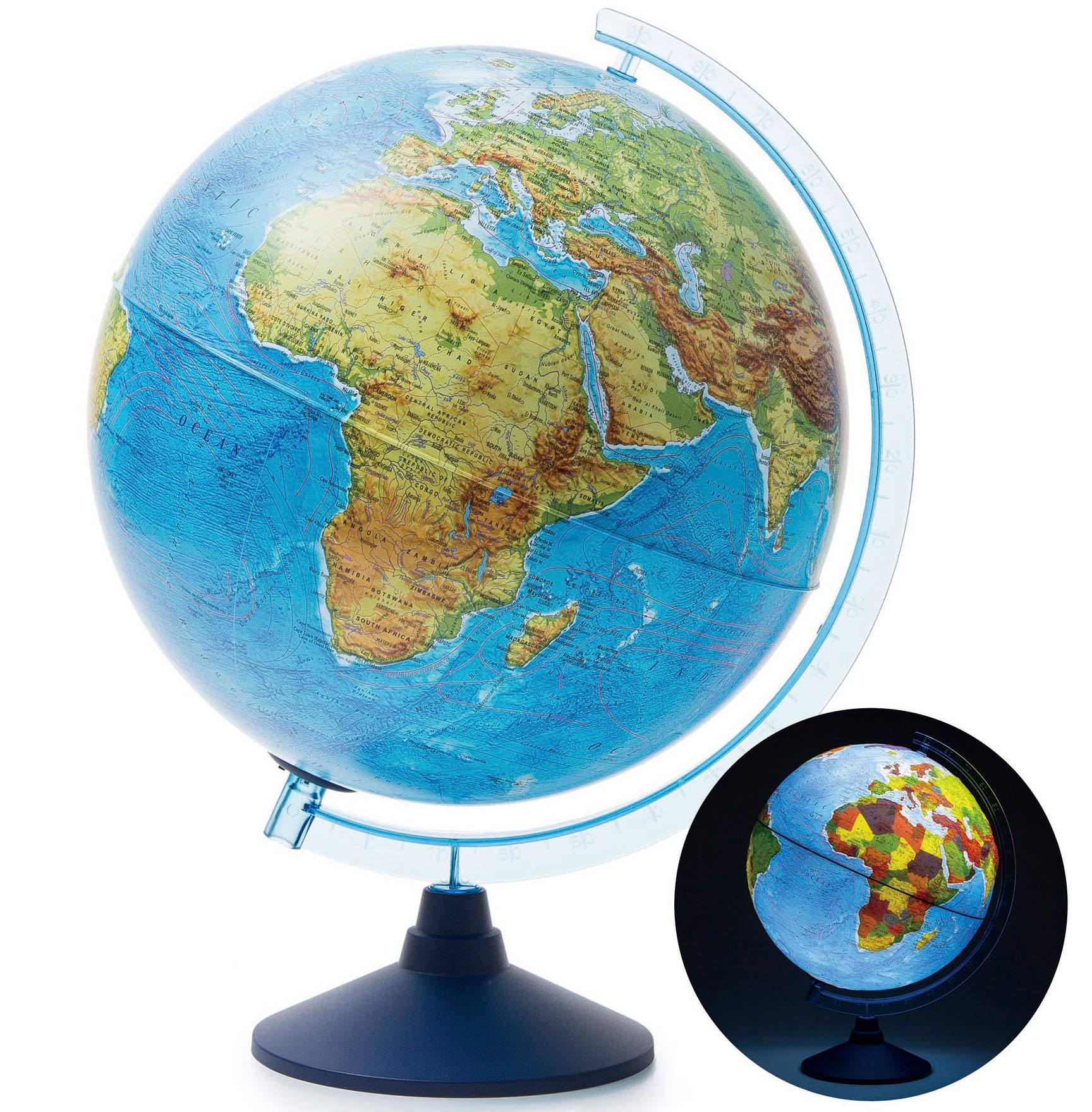 Exerz 10'' / 25cm Globe with Cable-Free LED Lighting/ 2 in 1 Illuminated - Physical/Political Dual Mapping - Educational and Fun - Topography/Geography/Ridge by Exerz