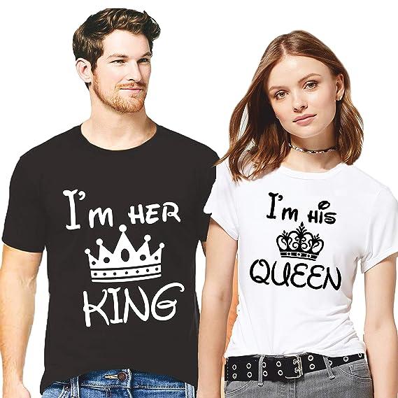 413e3deb8 Hangout Hub Couple Tshirts I Am Her King I Am His Queen Printed Black/White