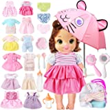 lausomile 25 Pack Alive Baby Doll Clothes Accessories Girl Gift 12 PCS Dress Fit 13 14 15 inch American Doll Girl Clothes, Bi