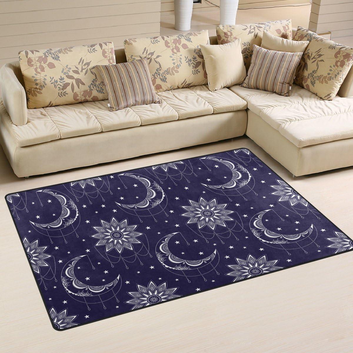 Yochoice Non-slip Area Rugs Home Decor, Vintage Boho Chic Moon Sun and Stars Floor Mat Living Room Bedroom Carpets Doormats 60 x 39 inches