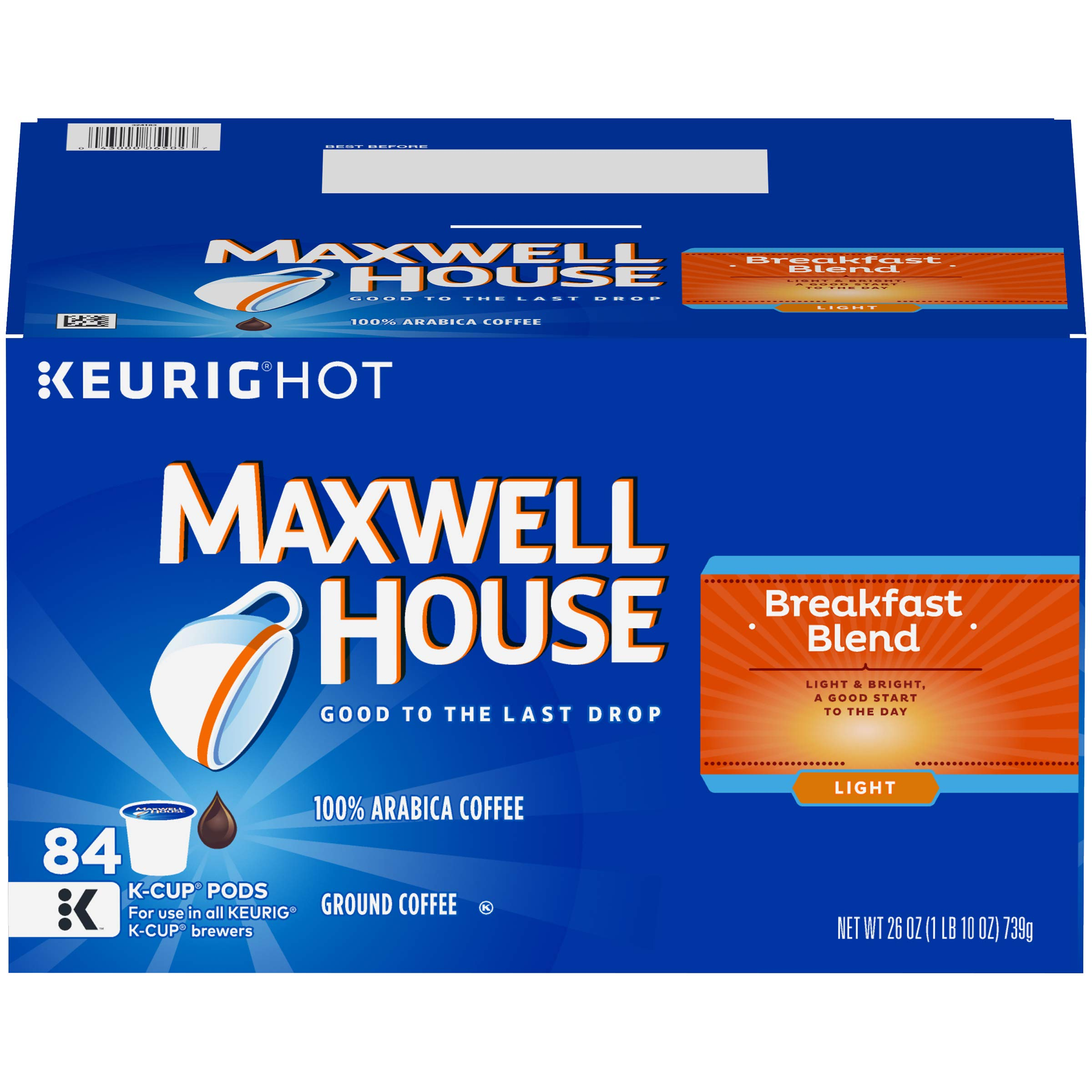 Maxwell House Breakfast Blend K-Cup Coffee Pods, 84 ct Box