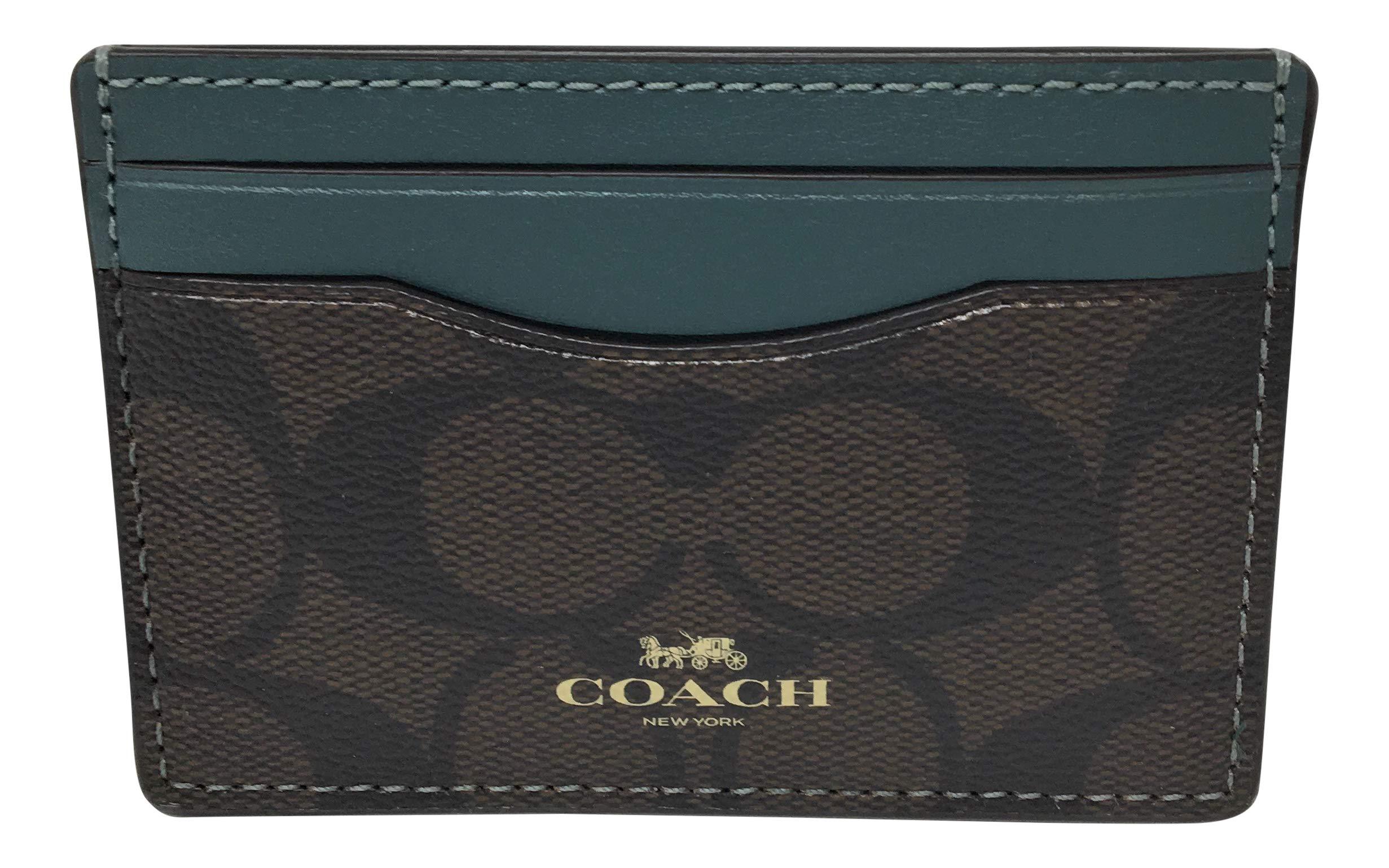 Signature PVC Card Case Brown Dark Turquoise F63279