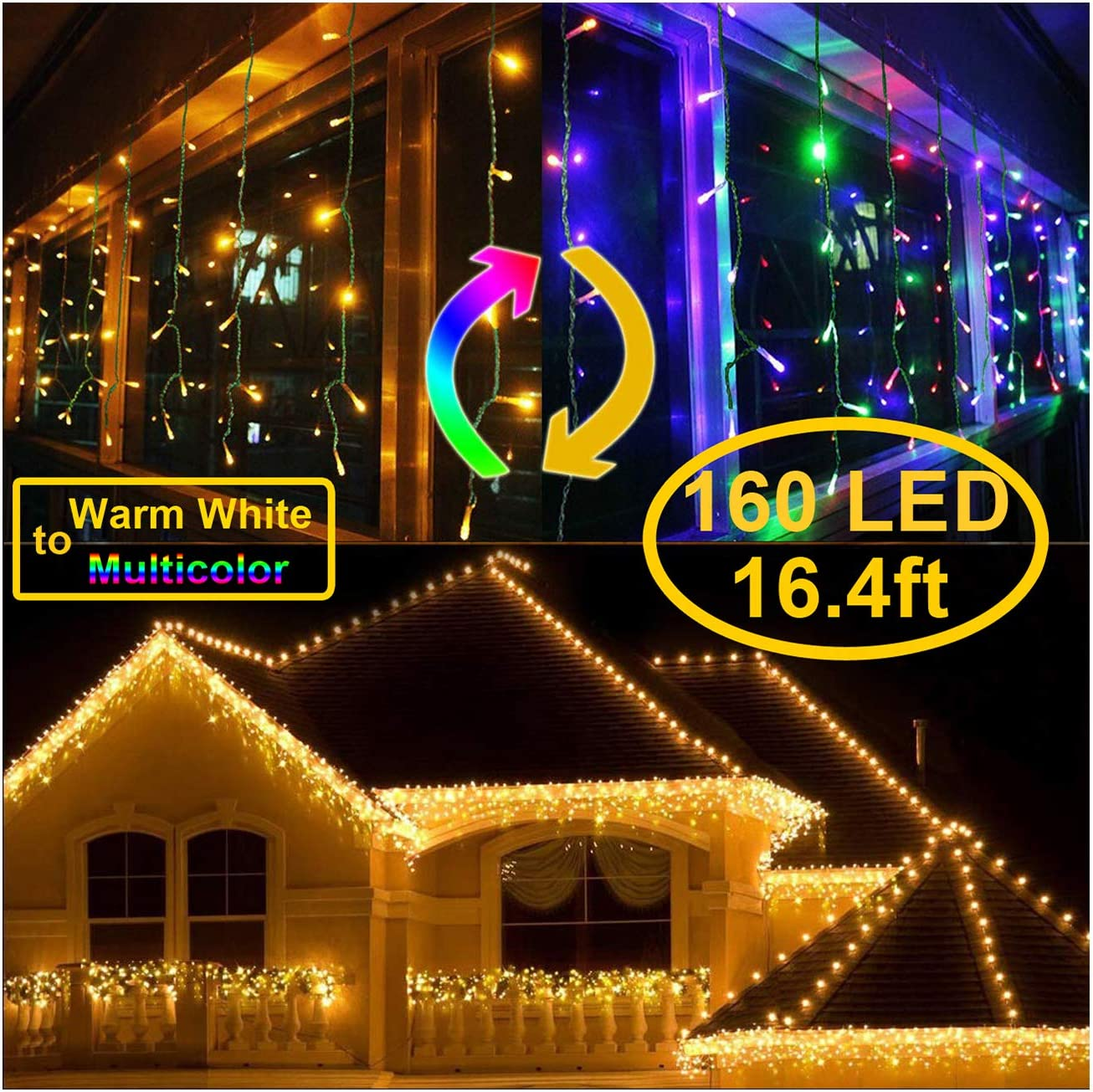 KNONEW LED Curtain Icicle Lights, 8 Modes, String Fairy Light, with Remote Control, LED String Light for Wedding Party/Christmas/Halloween/Party Backdrops Cool White