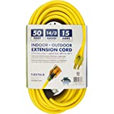 Snow Joe PJEXT50-B Power Joe 14/3 50-Feet SJTW Outdoor Extension Cord with Lighted End, Yellow