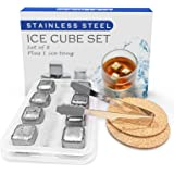 【Newly Gift Set】LOSRECAL Stainless Steel Ice Cube, 8 Pcs Whiskey Stones, Whiskey Stainless Steel Ice Cubes Best Men Gift with
