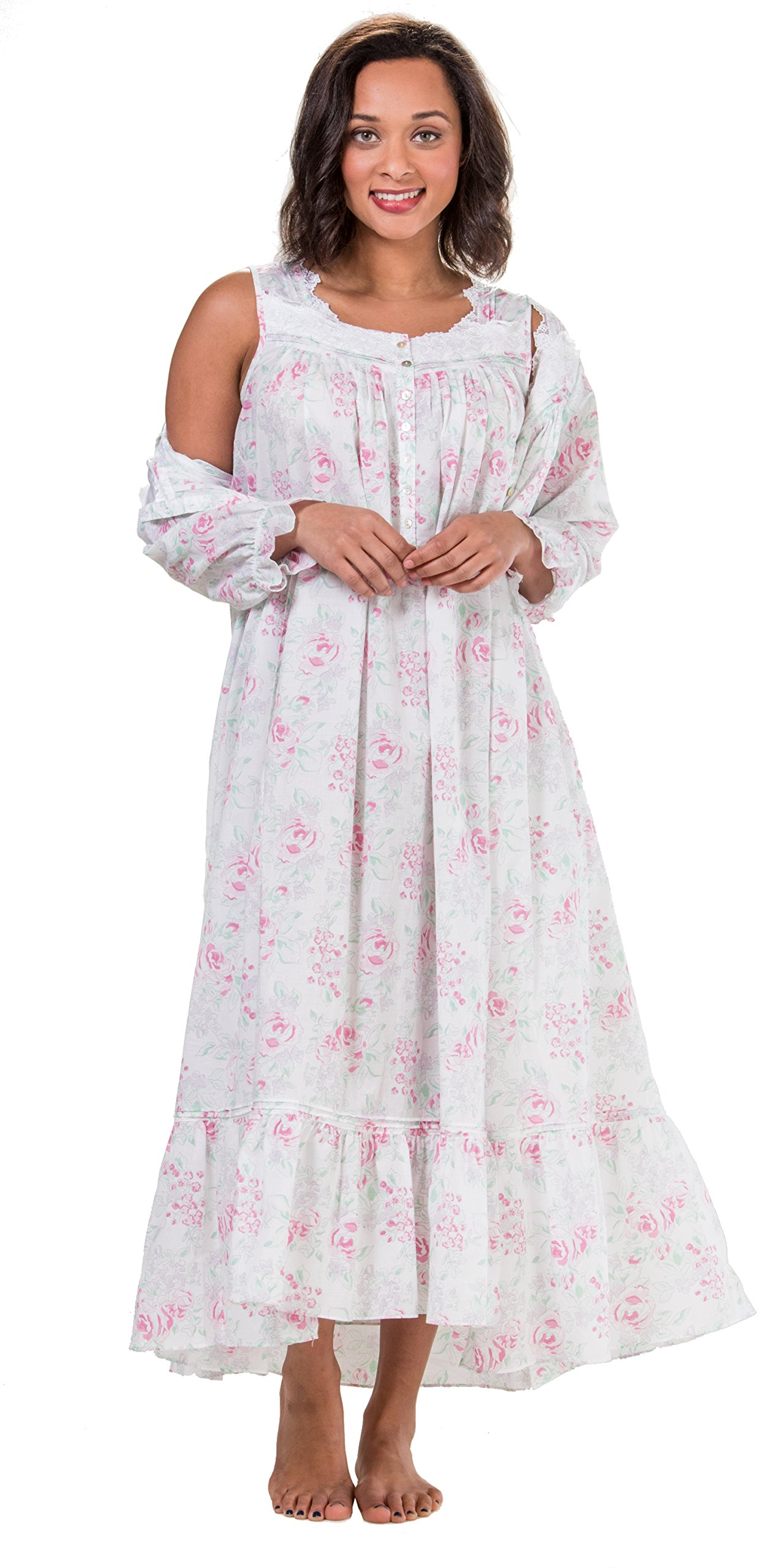 Eileen West Robe & Gown Set - Sleeveless Cotton Lawn Peignoir Set - Country Rose (White/Pink Floral, Large)