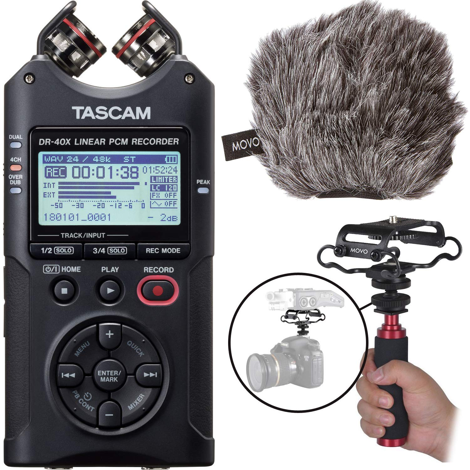 Tascam DR-40X Four-Track Digital Audio Recorder & USB Interface with Movo Audio Capture Bundle Including Camera Shockmount,''Deadcat'' Windscreen, and Aluminum Hand Grip