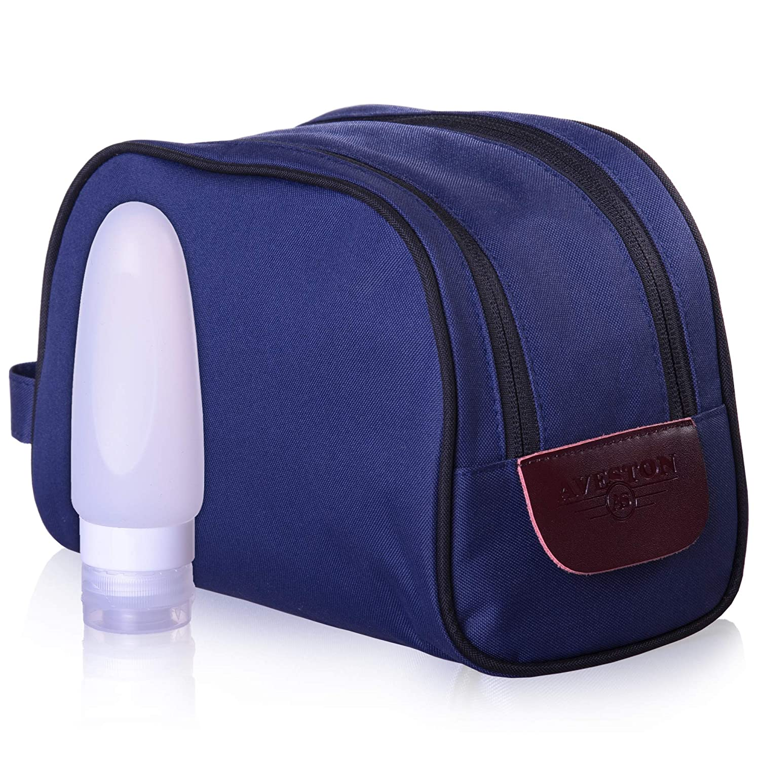 Amazon.com   Travel Toiletry Bag for Men - Dopp Kit - Waterproof Toiletry  Kit - Mens Travel Toiletries Bag Large - Blue - with Silicone Travel Bottle  - by ... 8b2ca490d4cd8