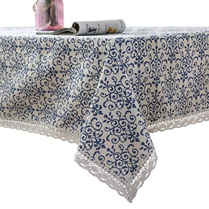 famibay Vintage Square Tablecloth,Everyday Kitchen Table Cloth Indoor Outdoor Decorative Macrame Lace Tablecloth Navy Blue Jacquard Damask Design (55 Inch x 55 Inch) best square tablecloth