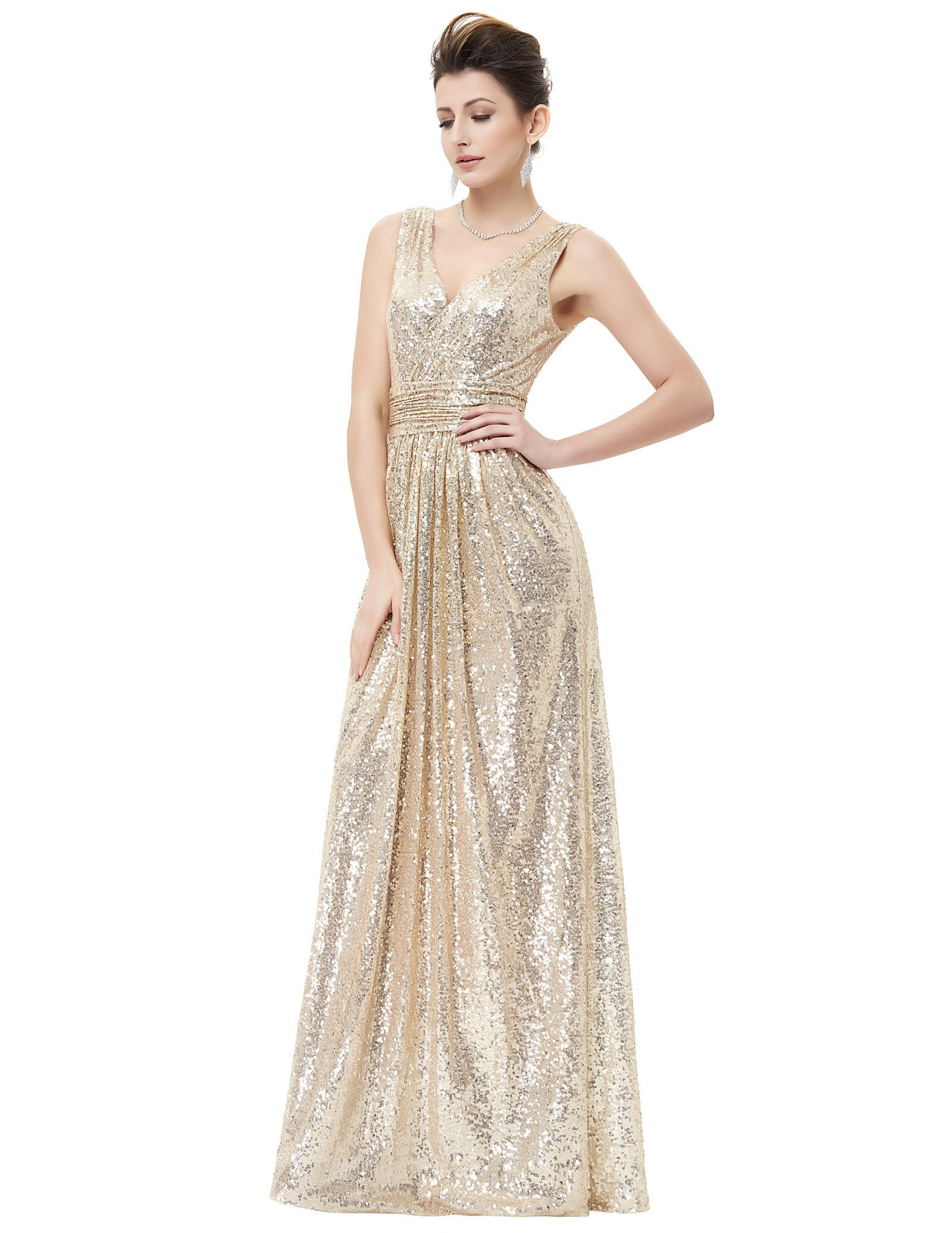 20775706fc8d Women Formal Wedding Bridesmaid High-waist Party Ball Prom Gown Cocktail  Dress. $18.88. Kate Kasin V Neck Shining Evening Plus Size Prom Dress Light  Gold ...