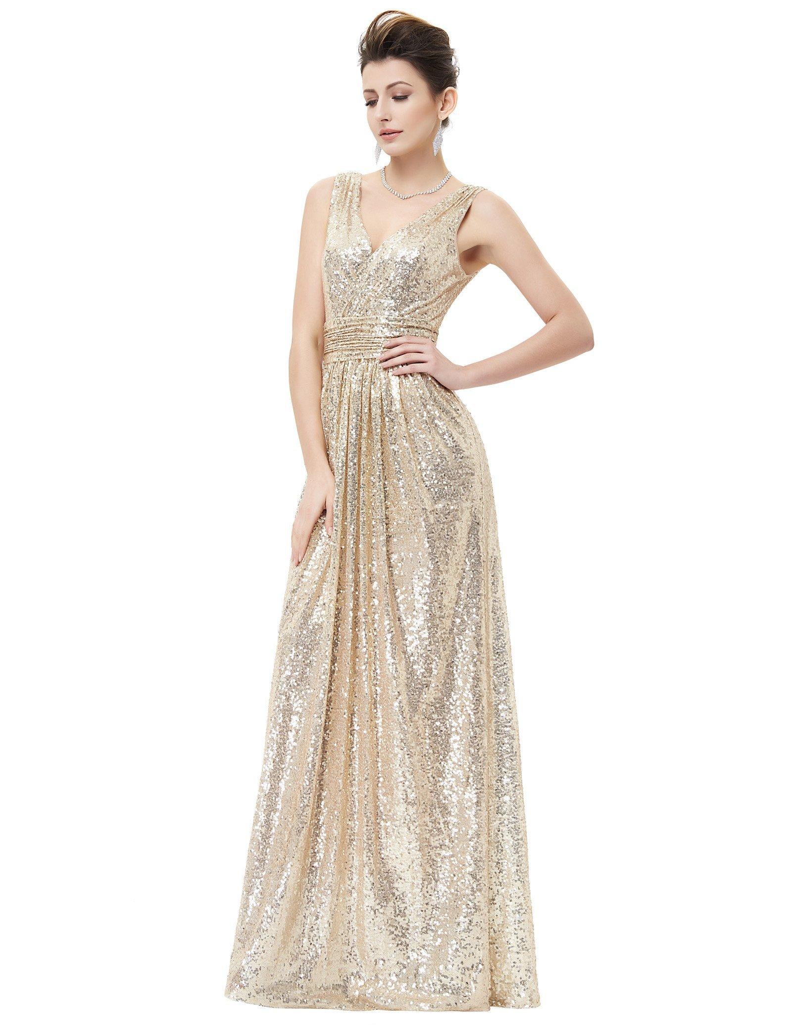 Kate Kasin V Neck Shining Evening Plus Size Prom Dress Light Gold Size 12 KK199 by Kate Kasin (Image #1)