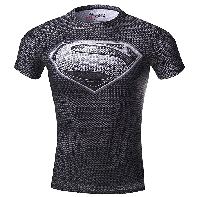 Cody Lundin Hombre Maneja de compresión de Jog Aptitud Movimiento de superhéroe  Camisetas Manga Corta ( c658daba62367
