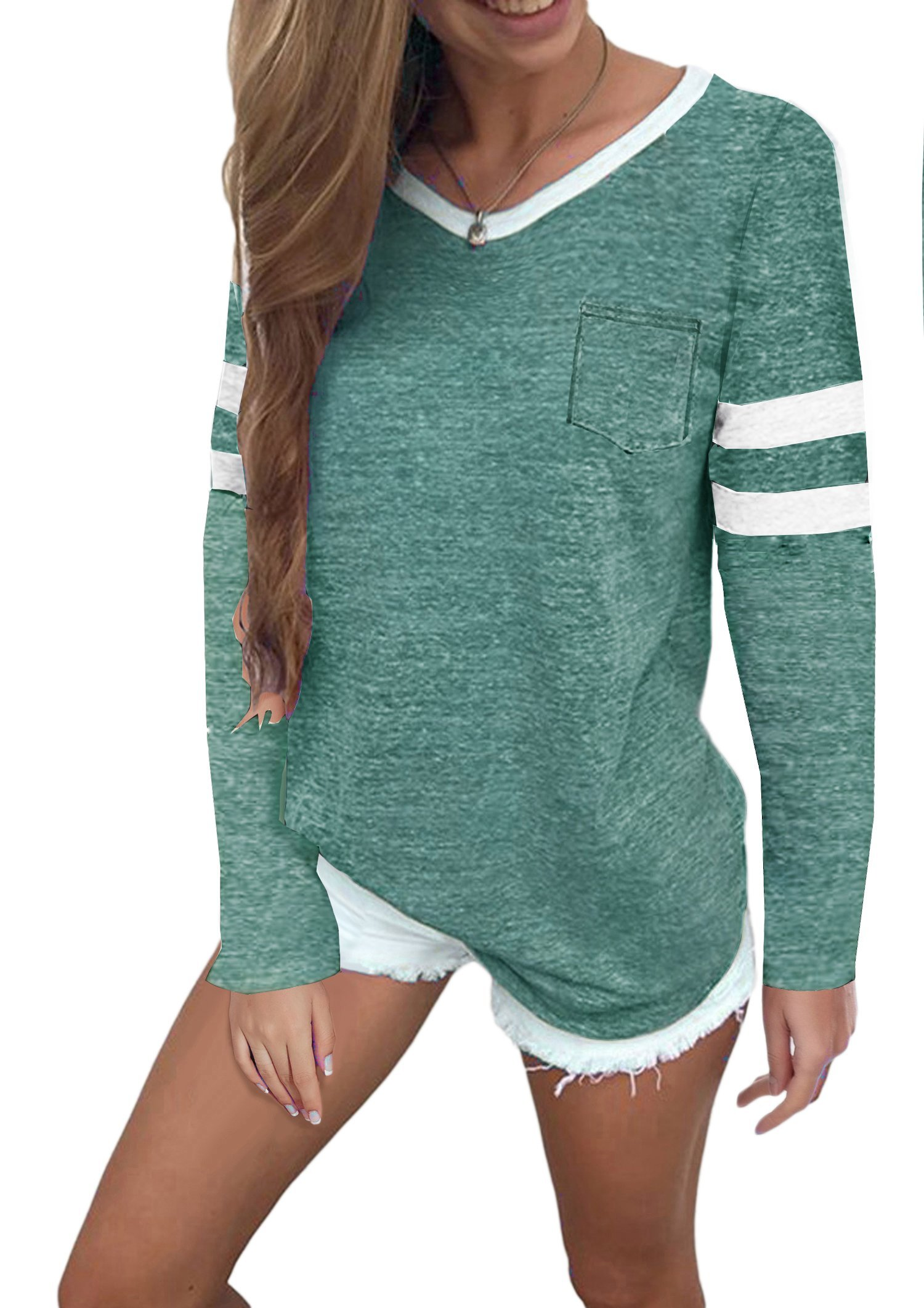Twotwowin Women's Summer Tops Casual Cotton V Neck Sport T Shirt Short Sleeve Blouse (Style2 Green, Small)