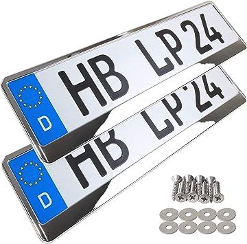 2X Kennzeichenhalter Chrom Look Kennzeichenhalterung Halter Nummernschildhalter