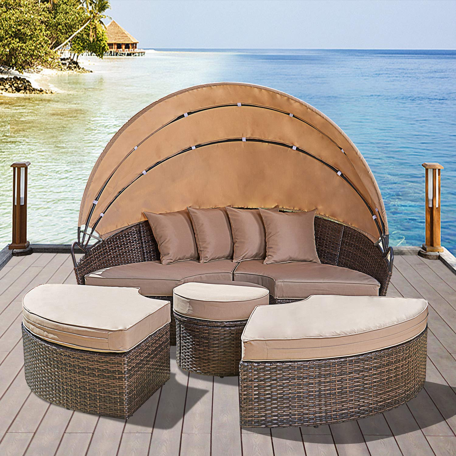 Solaura Outdoor Patio Round Daybed with Retractable Canopy and Brown Wicker, Seating Separates Cushioned Seats 4 Light Brown Pillow