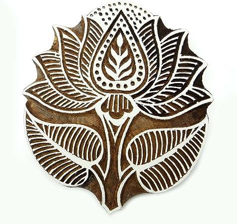 IBA Indianbeautifulart Brown Wooden Textile Stamp Lotus Stamp Block Print Hand Carved Printing Block
