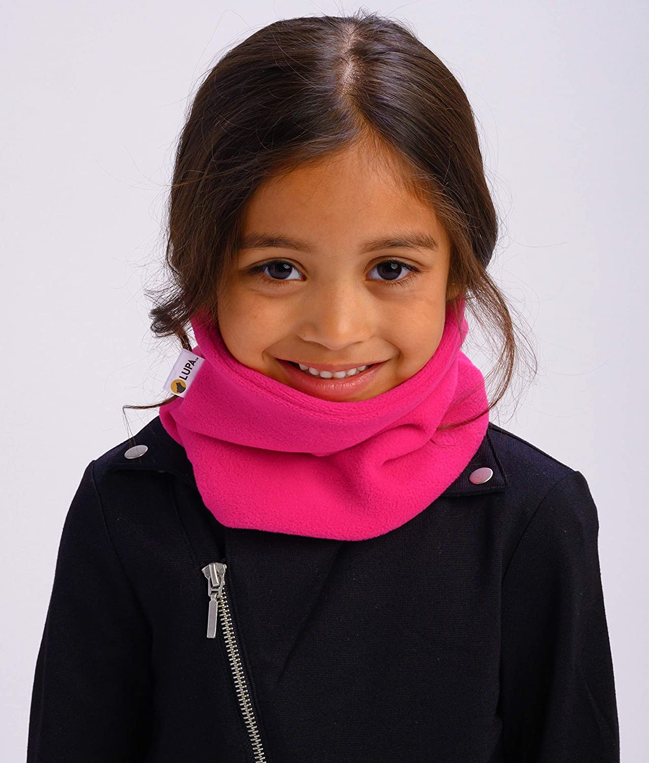 Bright Pink Lupa Kids Canadian Handmade 2-Ply Micro Fleece Neck Warmer//Gaiter