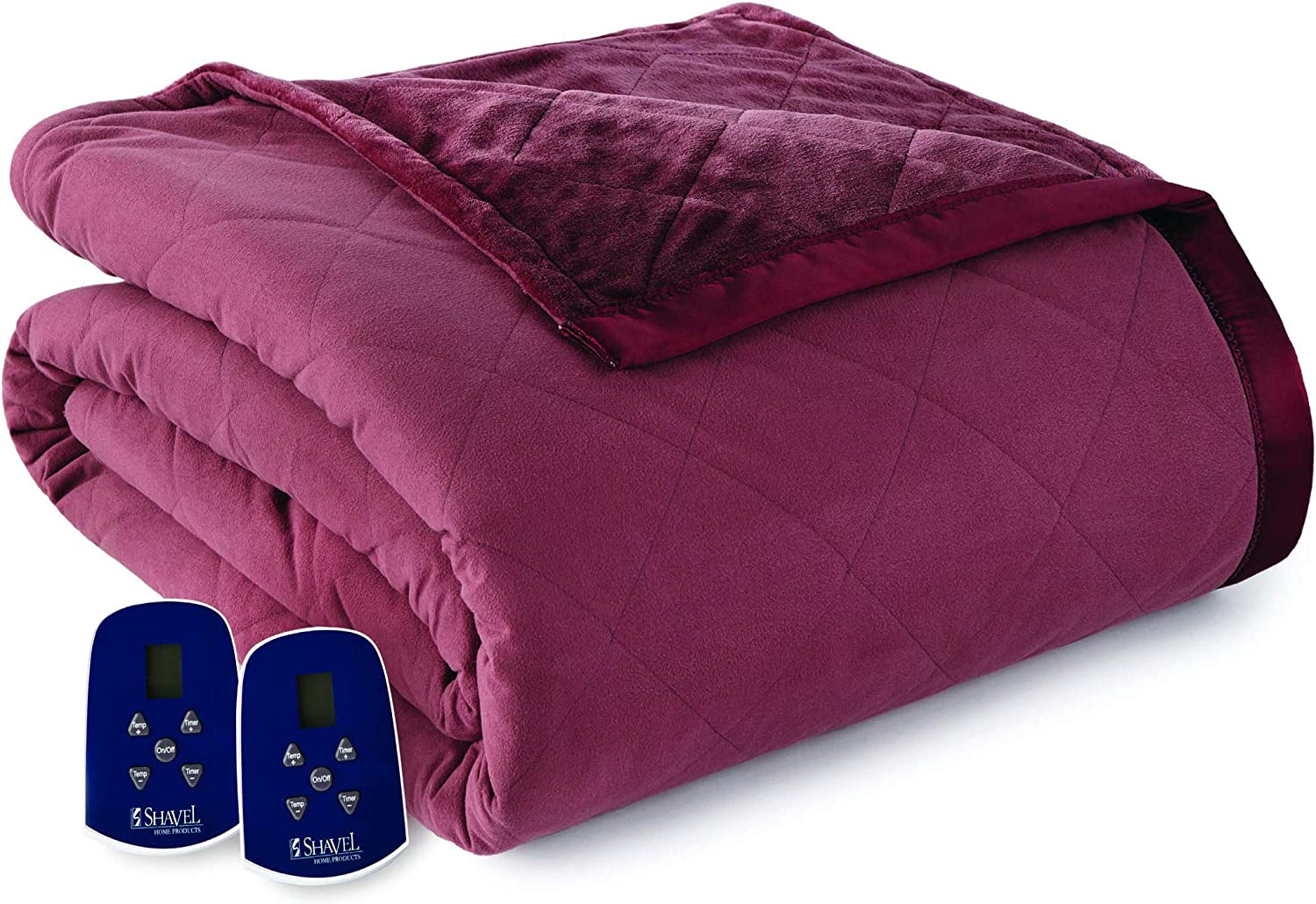 Thermee Micro Flannel Micro Flannel Electric Blanket, Full, Sangria