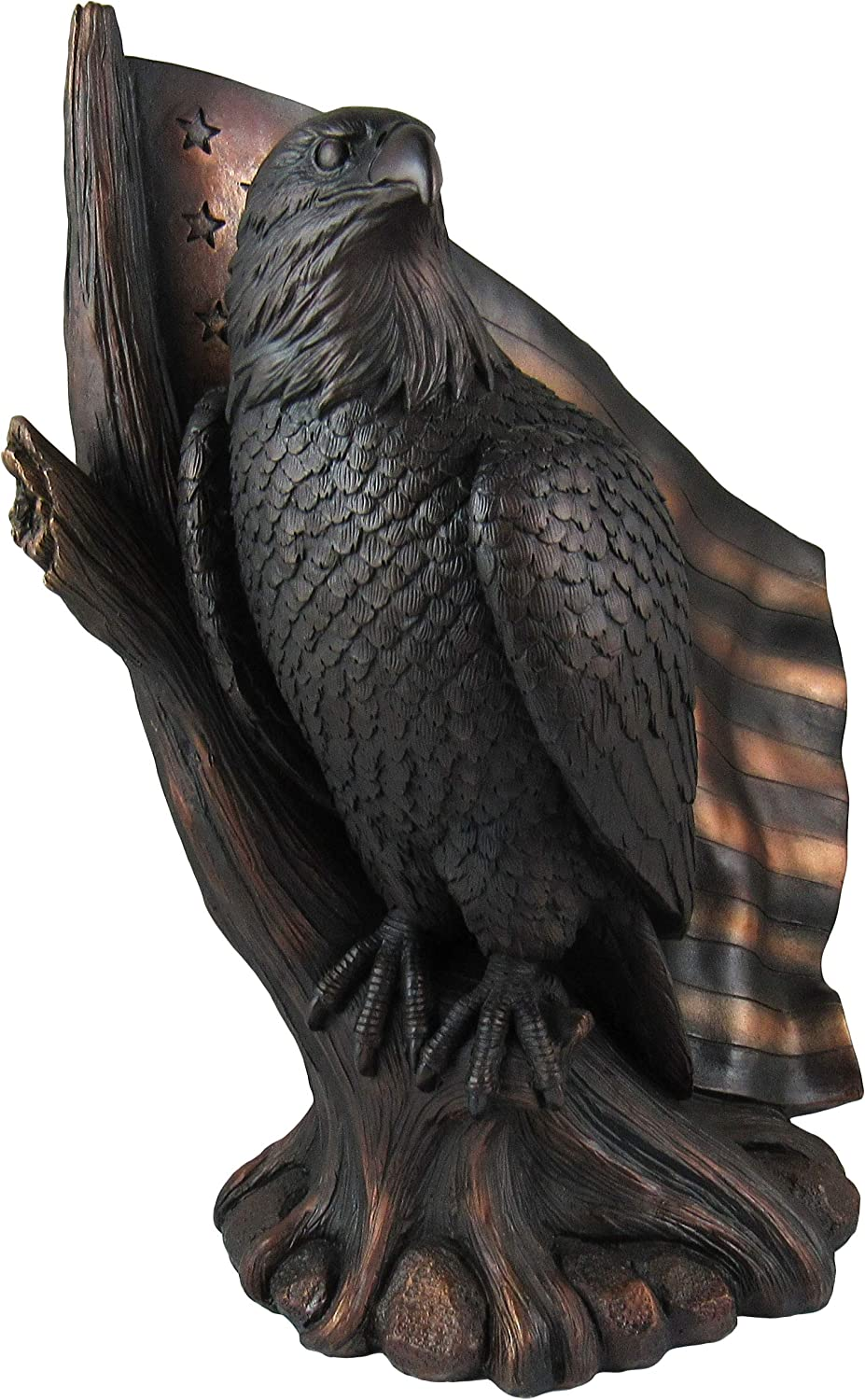 DWK - Patriot Pride - Majestic Bald Eagle with Waving American Flag USA Patriotic Americana Figurine Desk Sculpture Home and Office Decor Accent, Antique Bronze Finish, 10.5-inch