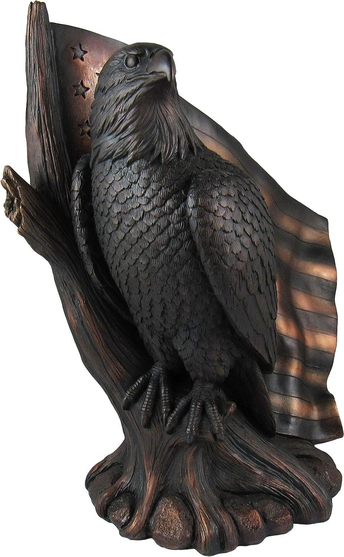 DWK - Patriot Pride - Majestic Bald Eagle with Waving American Flag USA Patriotic Americana Figurine Desk Sculpture Home and Office Decor Accent, Antique Bronze Finish, 10.5-inch