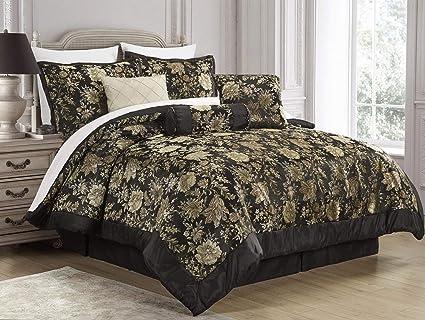 Amazoncom 7 Piece Jacquard Floral Comforter Sets Queenbedding