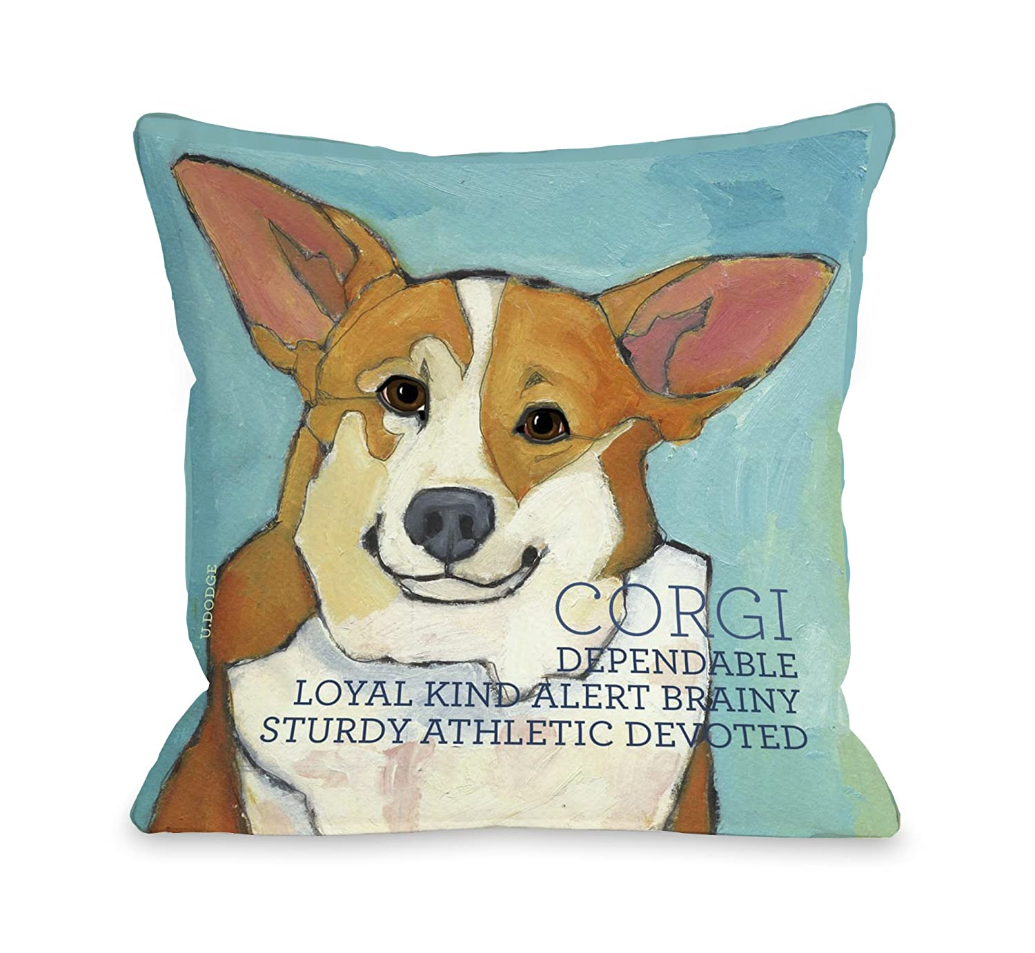 One Bella Casa Corgi 2 Throw Pillow, 26 by 26-Inch