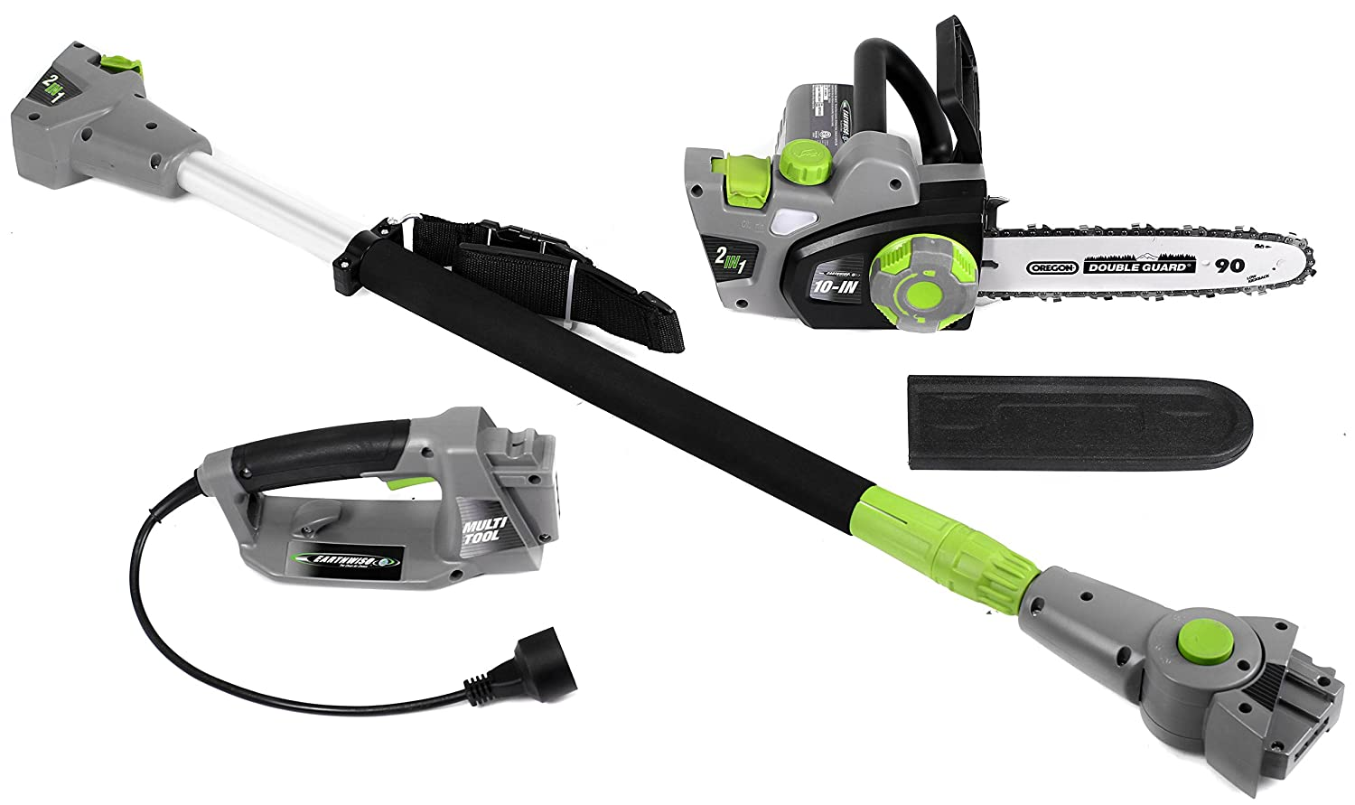 Earthwise CVPS43010 7-Amp 10-Inch Convertible 2-in-1 Corded Electric Pole Saw Chainsaw, Grey