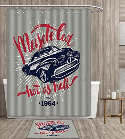 Familytaste Cars Shower Curtain Waterproof Hot As Hell Muscle Car Quote Classic Vintage Sports In Navy Blue Fabric Bathroom Decor Set With Hook 36x72