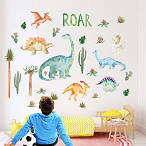 Dinosaur Wall Stickers for Boys Room, Assorted Dino Animal Wall Decor for Kids Bedroom Teens Playroom Living Room, Birthday Party Home Decoration Boys Gift, by WILLROAD