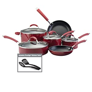 Farberware 10573 Millennium Porcelain Nonstick Cookware Set, 12-Piece, Red